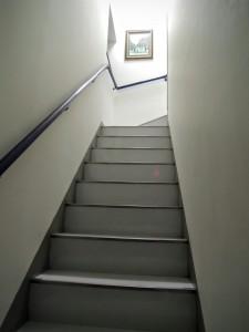 研修室への階段を最上段まで